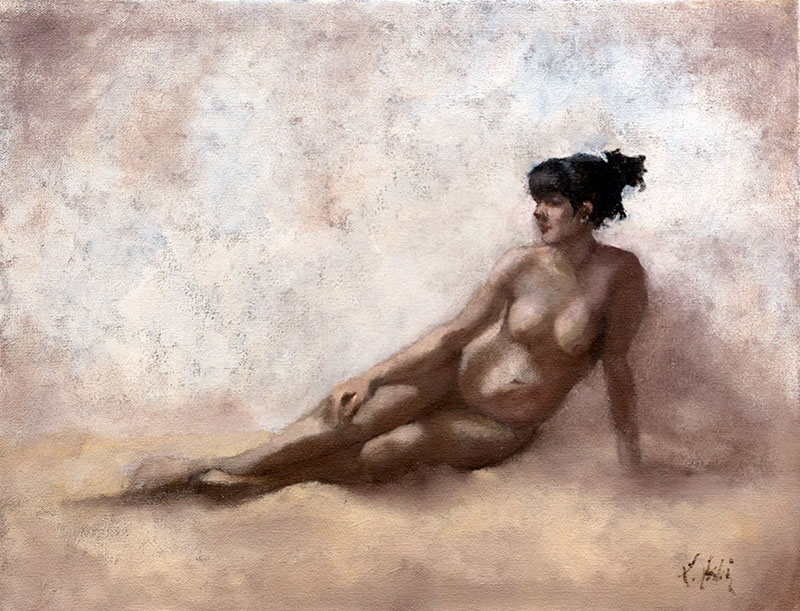"""Nude-Study,"" 14 x 18 in. oil-canvas"