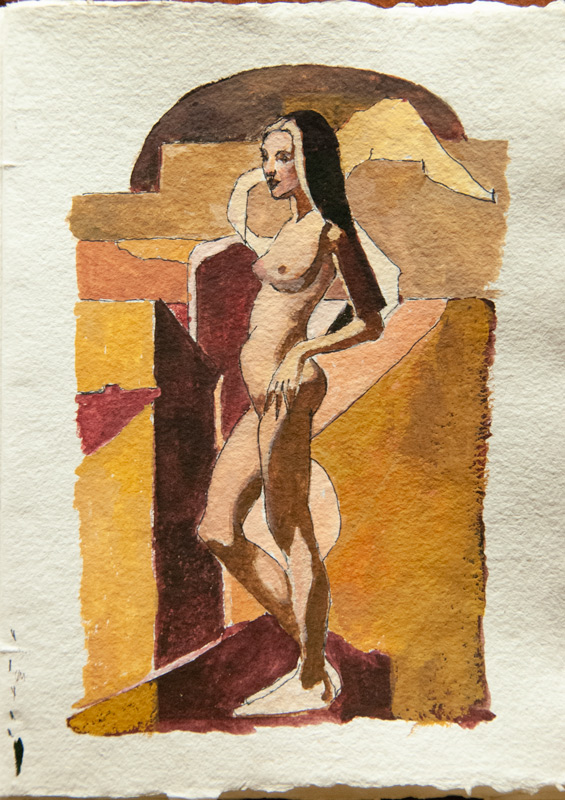 """Bride_Color-Study"" 10 x 8 in. gouache-paper"