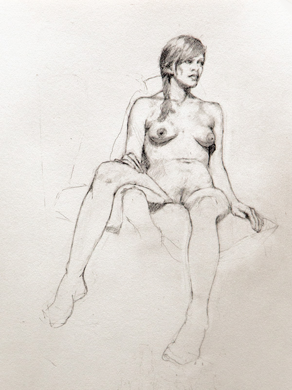 "Linda Leslie Drawings, ""Barefoot"", 12 x 9 in. graphite-paper"