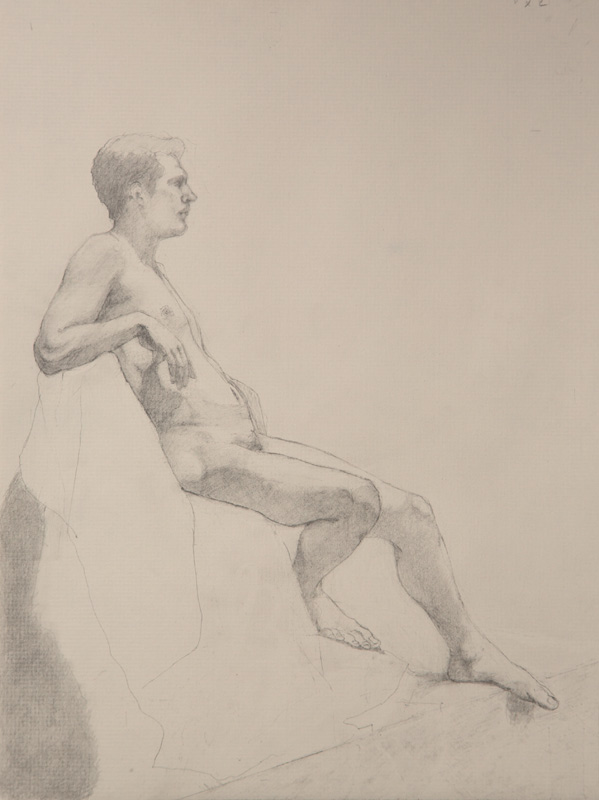 Linda Leslie Drawings, Workshop Figure1, 12 x 9 in. graphite-paper