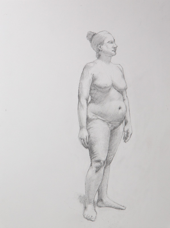 Linda Leslie Drawings, Workshop Figure2, 12 x 9 in. graphite-paper