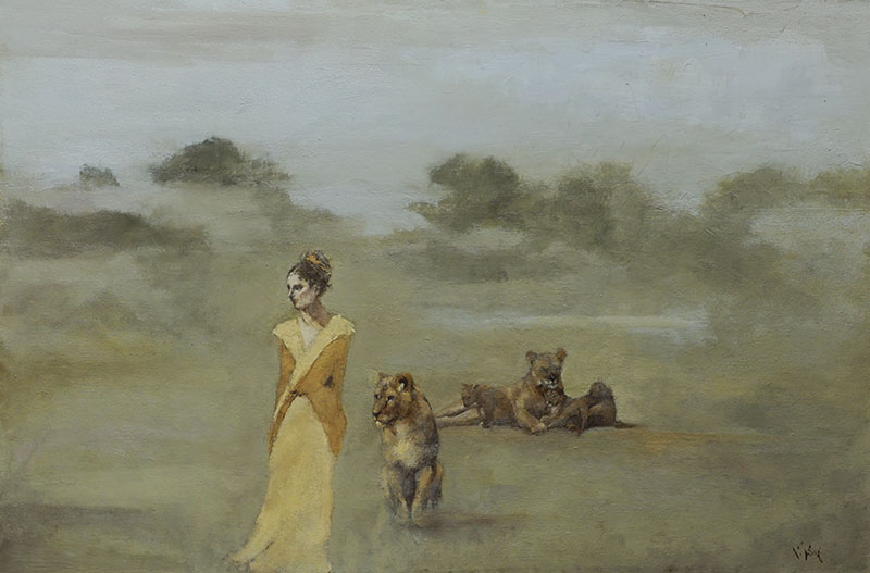 """""""Familiar,"""" 24 x 36 in. oil-canvas"""