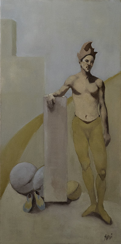 """Juggler in Yellow,"" 30 x 15 in. oil-canvas"