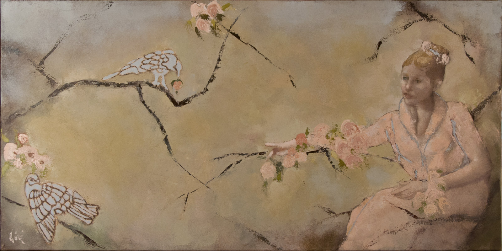 """""""Offering,"""" 24 x 48 in. oil-canvas"""